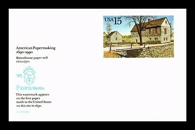 Dr Jim Stamps Us American Papermaking Rittenhouse Mill Unused Postal Card