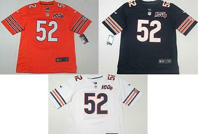 New Khalil Mack #52 Chicago Bears All Sewn 100th Season Game Jersey Home/Away