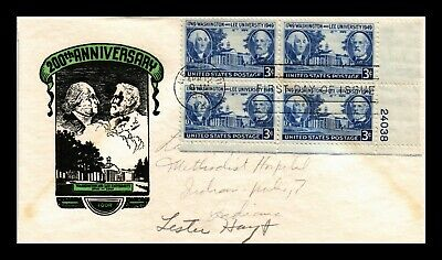 Dr Jim Stamps Us Washington Lee University Fdc Cover Scott 982 Ioor Plate Block