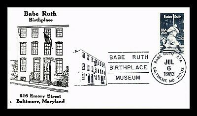 Dr Jim Stamps Us Babe Ruth Birthplace Museum Cancel Fdc Baseball Cover