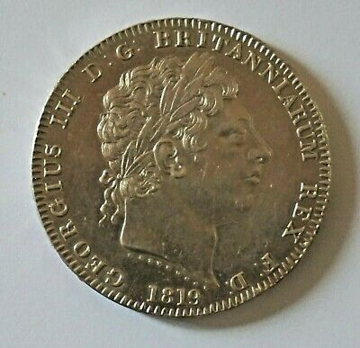 George III 3rd 1819 LX silver crown GB Coins Extremely Fine