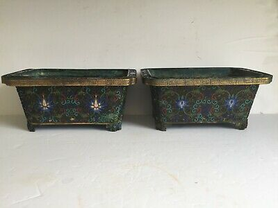 """2 Antique Footed Chinese Cloisonne Enamel Brass Copper Planter Pot 10"""" Oxidation"""