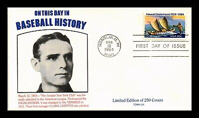 Dr Jim Stamps Us Hawaii Statehood Fdc Cover Baseball History Clark Griffith