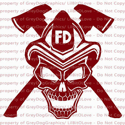 37cb648132d Firefighter Skull Vinyl Decal with Cross Axes and Fire Helmet Sticker  Fireman