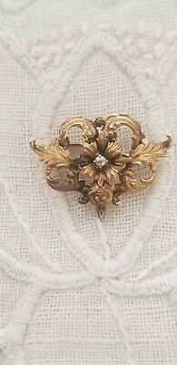 ANTIQUE VICTORIAN ornate 12K GOLD w/ diamond pin brooch fob