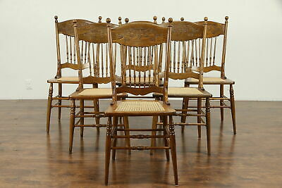 Victorian Set of 6 Antique Pressback Carved Elm & Oak Dining Chairs #31285