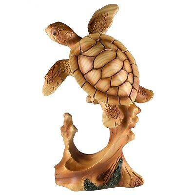 "Sea Turtle Swimming Faux Carved Wood Look Figurine 5"" High Resin Statue New"
