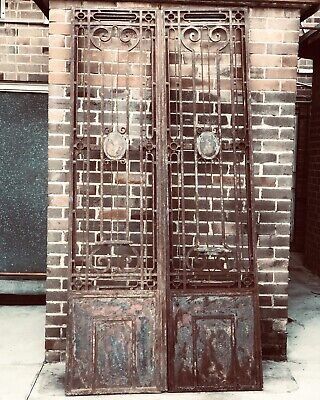 Stunning Pair of Decorative French Antique Metal Iron Gates Gate