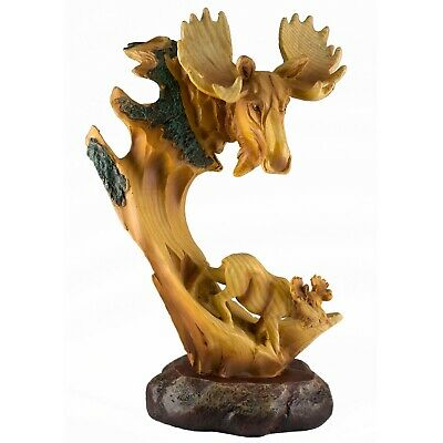 "Moose Faux Carved Wood Look Figurine Resin Statue 9.25"" High New"