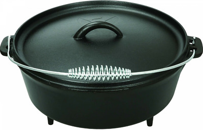 Dutch Oven 5 QT. Sturdy Cast Iron Black Versatile Stainless Steel Handle Camping