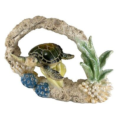 "Green Sea Turtle Swimming In Faux Coral Figurine 6"" Long Resin Statue New"