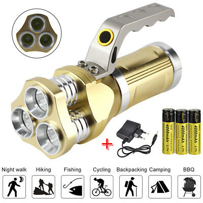 90000LM Super Bright Rechargeable 3x XM-L Led T6 Flashlight Torch Lamp +3x 18650