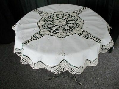 "PRETTY ROUND TABLECLOTH-EMBROIDERY & TAPE LACE-34""dia.UNUSED"