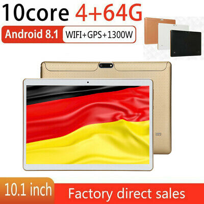 DE 10.1 ZOLL Tablet Android 8.1 Bluetooth PC 4+64G ROM 2 SIM GPS Phone Pad IPS