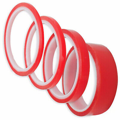 Double Sided Super Sticky Clear Tape Red Strong 3m Craft DIY Roll 5-20 mm Wide