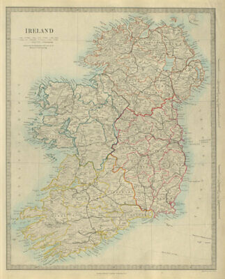 IRELAND showing roads and railways. SDUK 1874 old antique map plan chart