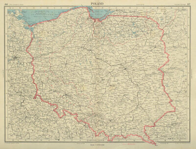 POLAND. 1938 & post WW2 borders. Western part under administration 1947 map