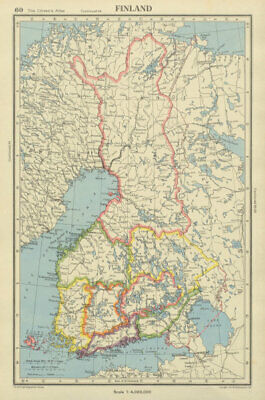 FINLAND showing provinces, and pre-1940 & 1944 borders/changes 1947 old map