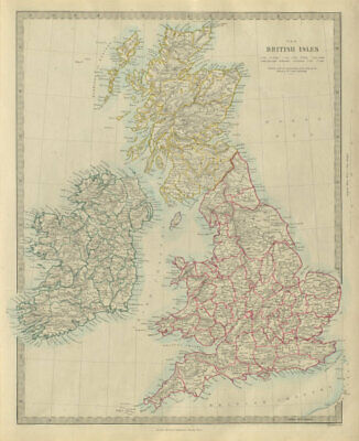 BRITISH ISLES. United Kingdom & Ireland. Counties towns rivers. SDUK 1874 map
