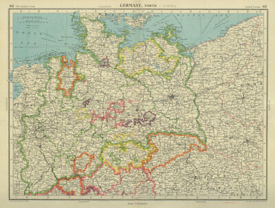 NORTHERN GERMANY showing 1938 border with Poland. BARTHOLOMEW 1947 old map