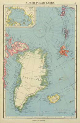 ARCTIC. North Polar Lands. Greenland Iceland. Explorers routes 1947 old map