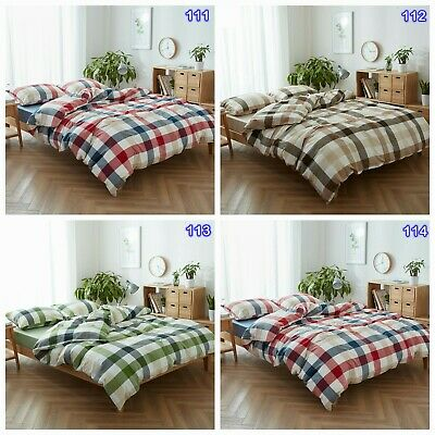 Checked Doona Duvet Quilt Cover Set Double/Queen/King Size Bed Linen Pillowcases