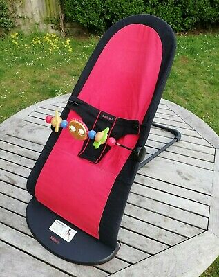 BABYBJÖRN Bouncer with toy bar (Black/Red, Cotton Mix)