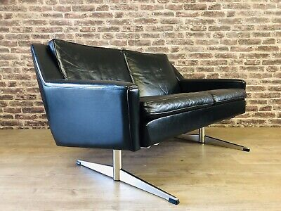 Danish 1960/70's Vintage Black Leather 2 Seater Sofa Delivery Available