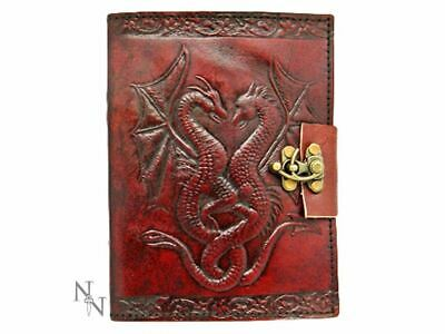 Journal Red Leather Double Dragon Design Fantasy Diary Notebook Locked Mythic
