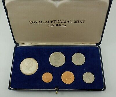 Rare Australia 1966 proof set Canberra Mint six coin inc silver 50c cased RAM