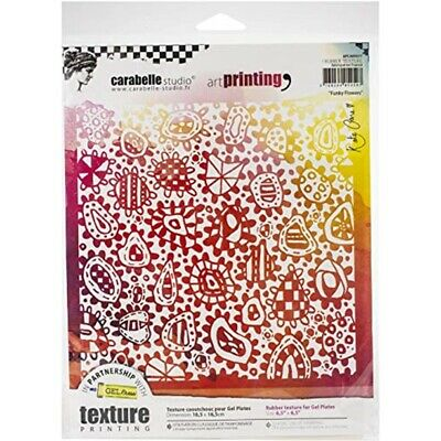 Carabelle Studio Art Printing Square Rubber Texture Plate-funky Flowers