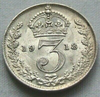 1918 WW1 Silver Threepence, Lovely Very High Grade Coin - FREE POSTAGE (104C)