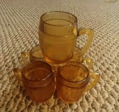 Set Of 5! Vintage Atlas Amber Mini Beer Barrel Mug Shot Glass Toothpick 2""