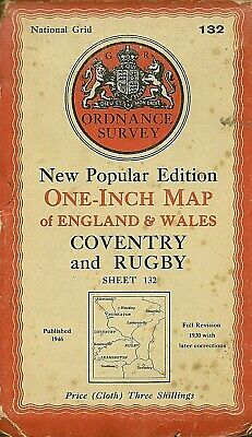 Ordnance Survey Map No 132 COVENTRY & RUGBY - Cloth - 1946