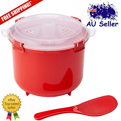Sistema Microwave Rice Cooker Steamer with Paddle Red