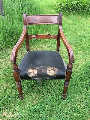 Antique English Georgian Regency Mahogany Carver Chair. c1825