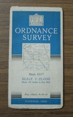 Vintage 1960s Ordnance Survey Map 2.5 inch Sheet 43/17 Tideswell Litton