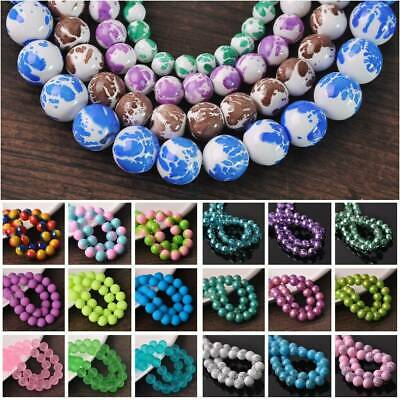 Wholesale 6mm/8mm/10mm/12mm Patterns Coated Round Glass Loose Spacer Beads lot