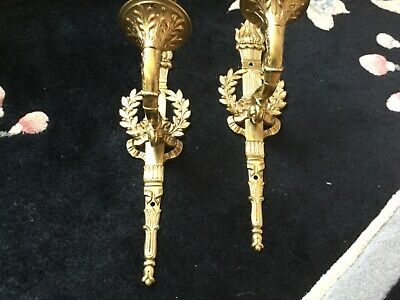 Vintage French Empire Neoclassical Pair Of Cast Bronze Brass Wall Sconces 13in