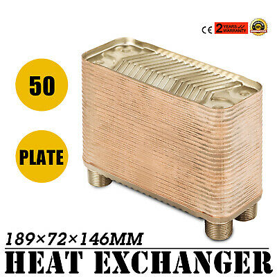 """50 Plate Water to Water Brazed Plate Heat Exchanger B3-12A-50 Outdoor 3/4""""male"""