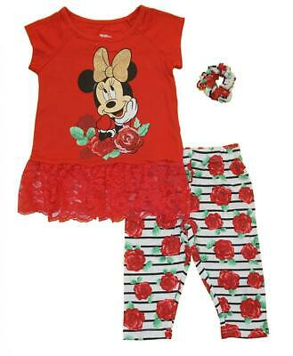 Minnie Mouse Girls Red Legging & Scrunchie Set Size 2T 3T 4T 4 5 6 6X
