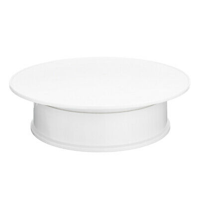 Round White Velvet Coping Electric Motorized 360° Rotating Display Stand J6T6