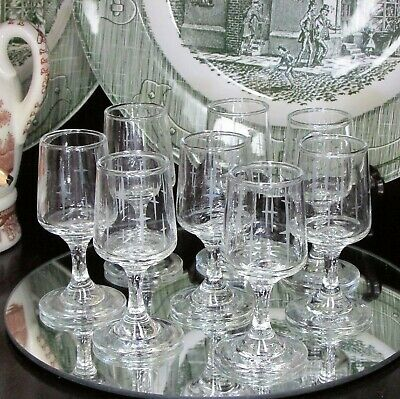Vintage Liqueur Glasses Set Of 8 Cordial Glass Star Cross Small Goblet Barware