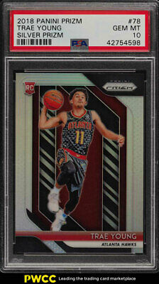 2018 Panini Prizm Silver Prizms Trae Young ROOKIE RC #78 PSA 10 GEM MINT (PWCC)
