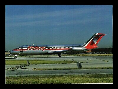 Dr Jim Stamps Us Midway Dc9 Airplane Transportation Continental Postcard
