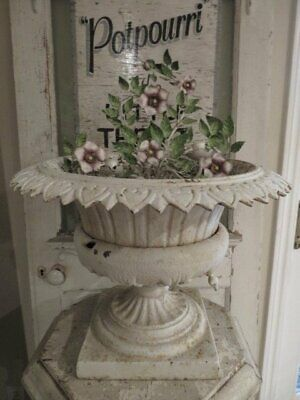 AWESOME Large Old Cast Iron METAL Garden URN PLANTER Shapely Chippy WHITE PATINA