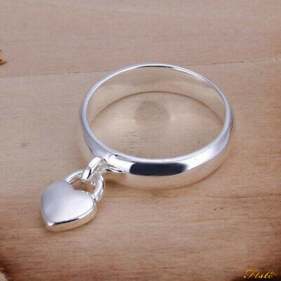 925 Sterling Silver Plated Ring Locked Heart Finger/Thumb Fashion Ring