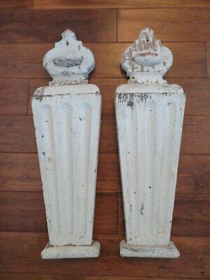 """OMG Pair Old Architectural WOOD Flat Fluted PEDIMENTS Crown Top Chippy WHITE 28"""""""