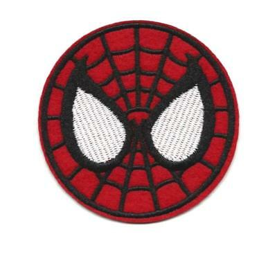 "SPIDERMAN IRON ON PATCH 3"" Embroidered Applique Round Red Superhero Avengers"