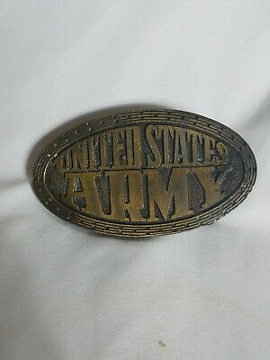 Vintage US Army solid  brass oval belt  buckle delayed entry program - ex cond